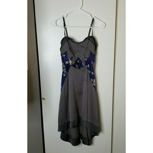 Free People Dresses - Free People High Low Grey and Blue Floral Dress